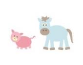 Pferd und Schwein Wandtattoo von Stickerscape - Wandaufkleber - Tiere auf dem Bauernhof (Großes Größe)