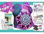 Komplett-Set zum Vorteilspreis! Bauchabdruck - Set, incl. Farben, Pinsel, Flächenveredelung, zusätzlichen Binden, Aufhängung, Lack, Malgrund...