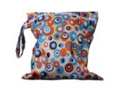 Baby Wasserdicht Reißverschlusstasche Wiederverwendbare Waschbar Baby Tuch Windel Tasche w / Bunte Kreise Muster Gelb