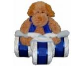 Windeldreirad blau mit Kuscheltier - Windeltorte Junge / Geschenk zur Geburt & Taufe