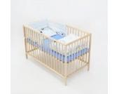 6-tlg. Baby-Bettwäsche-Set Bettzeug Bettbezug Bettgarnitur für Babybett 120x60 (Muster: Hund mit Knochen_puderblau)