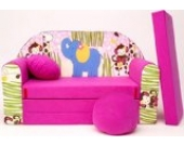 H16+ Kindersofa Ausklappbar Schlafsofa Couch Sofa Minicouch 3 in 1 Baby Set + Kindersessel und Sitzkissen + Matratze