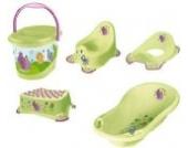 5er Set Hippo grün Badewanne XXL + Topf + WC Aufsatz + Hocker + Windeleimer