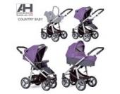 Haberkorn Country Kinderwagen Luftreifen Maxi Cosi Adapter geländetauglich (violett/grau)