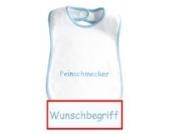 Baby-Lätzchen mit Wunschbegriff in hellblau eingestickt, Lätzchen weiß/weiß, hochwertige Stickerei; Mitteilung des Wunsch-Namen siehe Produktbeschreibung