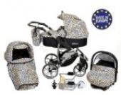 Allivio - 3 in 1 Reisesystem einschließlich Kinderwagen mit schwenkbaren Rädern, Kinderautositz, Buggy und Zubehör, Schwarz und Leopard