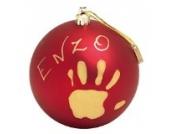 Baby Art Bastelset: Weihnachtskugel für Handabdruck und Namen des Kindes  zum Selbstbemalen, matt rot