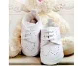 Babyschuhe Winterschuhe weiße Taufschuhe Leder matt Modell 4860 (18(6-9 M.))