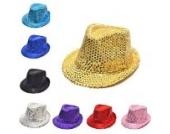 Pailletten Design Kinder FedoraMütze Panama Partei Paillette Sommer Kappe Runde Mütze (blau)