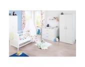 Komplett Kinderzimmer VIKTORIA groß, 3-tlg. (Kinderbett, Wickelkommode breit und 2-türiger Kleiderschrank), weiß Gr. 70 x 140
