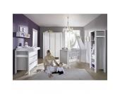 Komplett Kinderzimmer MILANO PINIE, 3-tlg. (Kinderbett + US, Wickelkommode und 2-türiger Kleiderschrank), Pinie silber/weiß Gr. 70 x 140