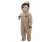 MIKIKIDS Baby Overall Kinder Unisex Schlafanzug Flannel Baumwolle Fleeceanzug Hund Durcken Schneeanzug Winter Jumpsuit mit Kapuze 100 - Khaki