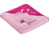 Kinderbutt Frottierset 3-tlg. inkl. Bestickung - mit Namen - personalisiert - Frottier Kapuzenbadetuch - Waschlappen - rosa - Größe 80x80 cm + 15x21 cm - 100% Baumwolle