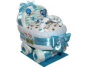 Großer Windelwagen Baby Boy Geschenk zur Taufe oder Geburt Windeltorte (Schnullerkette ohne Name)