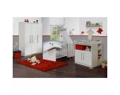 Komplett Kinderzimmer MAREN, 3-tlg. (Kinderbett, Wickelkommode und 2-türiger Kleiderschrank), Weiß Gr. 70 x 140