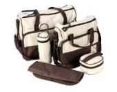 LATH.PIN 5tlg Babytasche Set Pflegetasche Tragetasche Wickeltasche Kinder Baby Windeltasche (Braun)