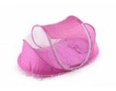 JTC Baby Neugeborenes Faltbett mit Moskitonetz Matratze Kopfkissen Niedlichen Babyzelt (Pink)