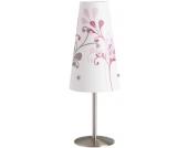 Nachttischlampe Isi, weiß mit Blumen