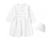 Baby Set aus Taufkleid +Mütze LENA Gr. 80 Mädchen Baby
