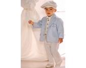 Nr. 9.1 FEINER Taufanzug Smoking Anzug-Set 6-teilig BLUE Gr��e 62-104