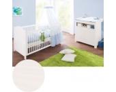 Sparset NINA, Kinderbett & breite Wickelkommode, Fichte massiv, Weiß lasiert Gr. 70 x 140