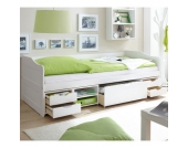 TiCAA Sofabett Marlies mit Schubkästen weiß
