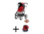 Kombikinderwagen / Travelsystem Kinderwagen + Babyschale A035 von UNITED-KIDS, Red-Black