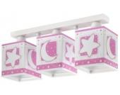 Deckenlampe Mond & Sterne, rosa/weiß