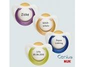 Nuk Genius Schnuller mit Namen 2 Stück - Latex - lila/gold - Gr 1 - Jeder Schnuller eine andere Gravur!
