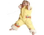 Babies & Kids - Öko-Schlafoverall Spielplatz gelb Schurwollplüsch, Größe:120 cm (5-7 Jahre)