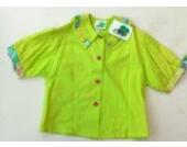Grüne Bluse von Hofmann mit buntem Kragen
