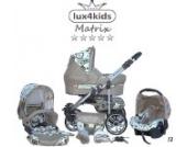 Chilly Kids Matrix II Kinderwagen Komplettset (Autositz & Adapter, Regenschutz, Moskitonetz, Schwenkräder) 12 Kreise Türkis & Beige