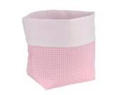 Sugarapple Utensilo Stoff Aufbewahrungsbox aus Baumwolle 19 x 13,5 x 13,5 cm, Stoffbox fürs Bad, als Wickeltisch Organizer oder Windelspender Korb, Karo rosa
