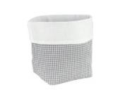 Sugarapple Utensilo Stoff Aufbewahrungsbox aus Baumwolle 19 x 13,5 x 13,5 cm, Stoffbox fürs Bad, als Wickeltisch Organizer oder Windelspender Korb, Karo grau