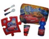 6 tlg. Set Cars Teller + Trinkglas + Trinkflasche + Gabel / Löffel + Unterlage