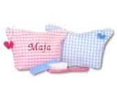 Kinder-Kulturtasche - Farbe Karo Hellblau - Schriftzug Marineblau