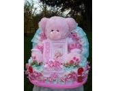 Windeltorte My Teddy mit Bilderrahmen und Babysetrosa Geburt,Taufe, Geburtstag