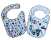 2 Baby Lätzchen doppellagig Motiv Rand beige/blau seitlich Klettverschluss Auto