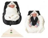 Babyschalendecke mit Applikation von HOBEA-Germany - verschiedene Farben, Farben Winterdecken:weiß