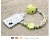 Baby SCHNULLERKETTE mit NAMEN | Schnullerhalter mit Wunschnamen - Mädchen & Jungen Motiv Eule in verschiendene Farben (lemon)