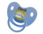 3 Stk. Namensschnuller DAVID / Größe 1 (0-6 Monate) / Kieferform / Latex / farblich sortiert (hellblau / grün / blau)