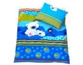 BABYLUX 2 tlg. Set Bezug für Kinderwagen Stubenwagen oder Wiege Garnitur Bettwäsche Kissen Decke 60 x 78 cm (13. d. Blau Bär)