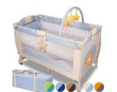 Infantastic Kinderbett (Farbwahl) Klappbett Babybett Laufstall Reisebett Babyreisebett Inkl. Matratze + Zubehör (Happy Starfish)
