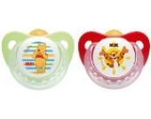 NUK 10172076 Latex Beruhigungssauger, Schnuller, Disney Winnie Trendline mit Ring, Größe 2, 6-18 Monate, BPA-frei, 2 Stück, grün/rot
