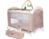 Froggy® Kinderreisebett Babybett mit Schlafunterlage, Matratze, Wickelauflage, Spielbogen, Transporttasche, höhenverstellbar, 120 x 60 cm in Beige