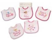 Baby Klett-Lätzchen im 5er Pack, rosa - mit wasserabweisender Rückseite - im Set