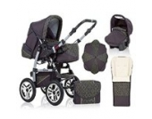 "17 teiliges Qualitäts-Kinderwagenset 5 in 1 ""FLASH"": Kinderwagen + Buggy + Autokindersitz + Schirm + Winterfussack – all inklusive Paket in Farbe ANTHRAZITE-GRÜN-DEKOR"
