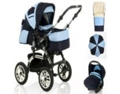 18 teiliges Qualitäts-Kinderwagenset 5 in 1 CITY DRIVER: Kinderwagen + Buggy + Autokindersitz + Schirm + Winter-Fussack - Megaset - all inclusive Paket in Farbe MARINE-HELLBLAU