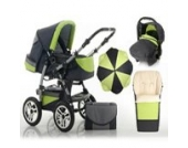 "17 teiliges Qualitäts-Kinderwagenset 5 in 1 ""FLASH"": Kinderwagen + Buggy + Autokindersitz + Schirm + Winterfussack – all inklusive Paket in Farbe ANTHRAZITE-GRÜN"