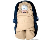 ByBUM - Baby Winter-Einschlagdecke 'Das Original mit dem Bären', Universal für Babyschale, Autositz, z.B. für Maxi-Cosi, Römer, für Kinderwagen, Buggy oder Babybett, Farbe:Beige
